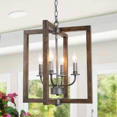 Brown Cage Chandelier, Eniso 4-Light Faux Wood Brushed Black Chandelier Kitchen Island Pendant Light with Candle Style