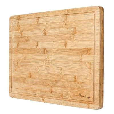 Premium Bamboo Cutting Board and Serving Tray with Drip Groove
