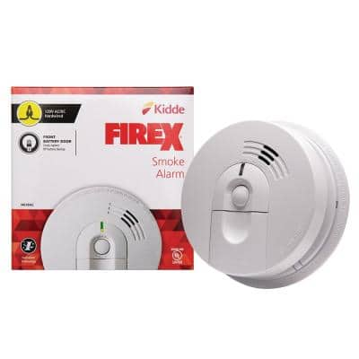 Firex Hardwired Smoke Detector with Ionization Sensor, 9-Volt Battery Backup, and Front Load Battery Door