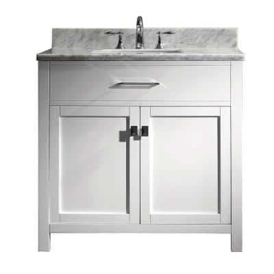 Caroline 36 in. W Bath Vanity in White with Marble Vanity Top in White with Square Basin