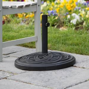 Circle Weave Round Outdoor Patio Umbrella Base - Black