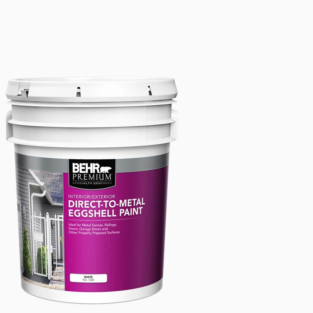 Behr Premium 5 Gal White Eggshell Direct To Metal Interior Exterior Paint 720005 The Home Depot