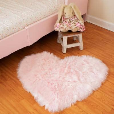 Pink 2 ft. x 3 ft. Faux Fur Luxuriously Soft and Eco Friendly Heart Area Rug