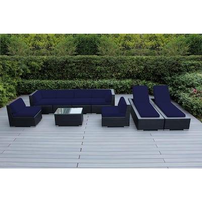 Black 9-Piece Wicker Patio Combo Conversation Set with Sunbrella Navy Cushions