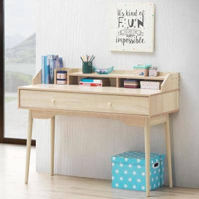 45 in. Rectangular Natural 1-Drawer Writing Desk with Solid Wood Leg