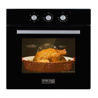 24 in. Built-in Single Electric Wall Oven in Black Glass with Cooling Down Fan, ETL