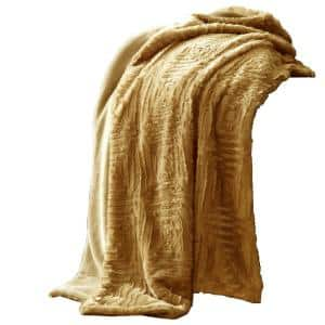 Treviso Yellow Faux Fur Throw with Fret Pattern
