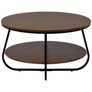 31.5 in. Brown Round Wood and Metal Coffee Table with Crossed Leg