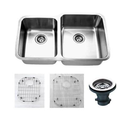 Oceanus Undermount 16-Gauge Stainless Steel 31.88 in. 45/55 Double Bowl Kitchen Sink with Grid and Strainer