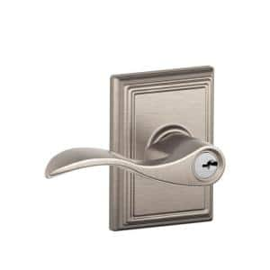 Accent Satin Nickel Keyed Entry Door Lever with Addison Trim