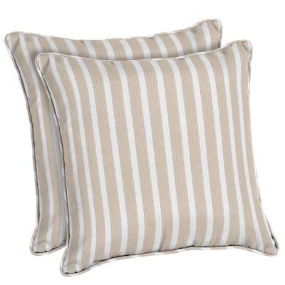 Sunbrella Shore Linen Square Outdoor Throw Pillow (2-Pack)