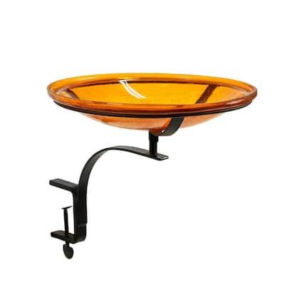 14 in. Dia Mandarin Orange Reflective Crackle Glass Birdbath Bowl with Rail Mount Bracket