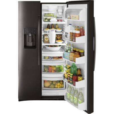 Profile 25.3 cu. ft. Side by Side Refrigerator in Black Stainless Steel, Fingerprint Resistant and ENERGY STAR