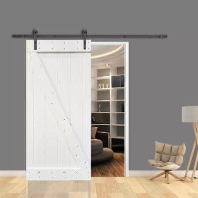 30 in. x 84 in. Z Series White Knotty Pine Wood Interior Sliding Barn Door with Hardware Kit