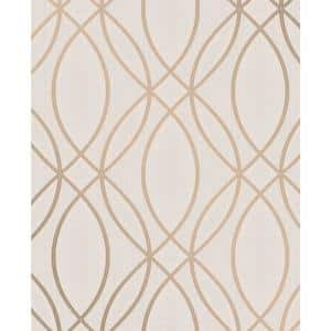Lisandro Rose Gold Geometric Lattice Vinyl Peelable Wallpaper (Covers 56.4 sq. ft.)