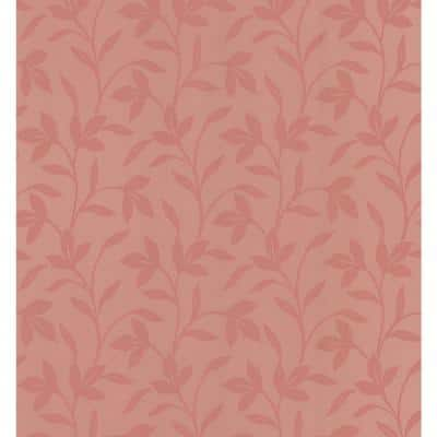 Leaf Trail Salmon Paper Strippable Roll Wallpaper (Covers 56.4 sq. ft.)