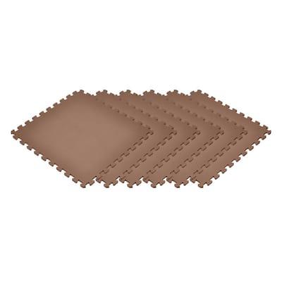 Brown 24 in. x 24 in. EVA Foam Non-Toxic Solid Color Interlocking Tiles (96 sq. ft. - 24 tiles)