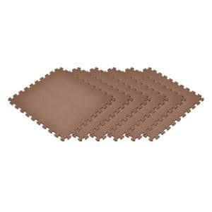 Brown 24 in. x 24 in. x 0.47 in. Foam Interlocking Floor Mat (6-Pack)