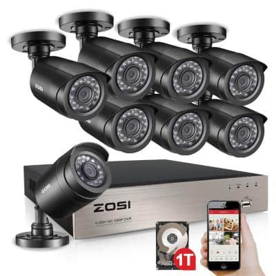 8-Channel 1080p 1TB DVR Surveillance System with 8-Wired Bullet Cameras