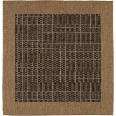 Recife Checkered Field Black-Cocoa 8 ft. x 8 ft. Square Indoor/Outdoor Area Rug