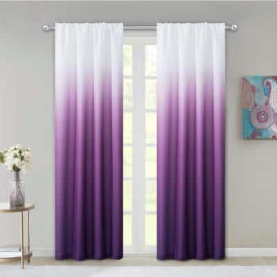 Purple Ombre Rod Pocket Room Darkening Curtain - 40 in. W x 84 in. L  (Set of 2)