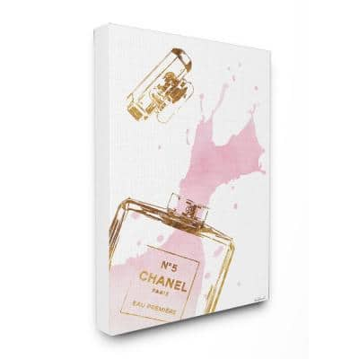 """24 in. x 30 in. """"Glam Perfume Bottle Splash Pink Gold"""" by Amanda Greenwood Printed Canvas Wall Art"""