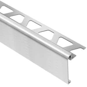 Rondec-Step Brushed Chrome Anodized Aluminum 3/8 in. x 8 ft. 2-1/2 in. Metal Tile Edging Trim