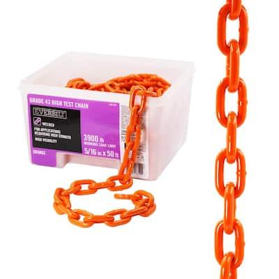 5/16 in. x 50 ft. Grade 43 Zinc Plated Steel High Test Chain, Orange