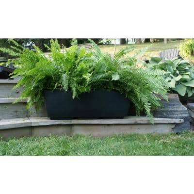 30 in. x 10 in. Black Plastic Window Boxes & Troughs