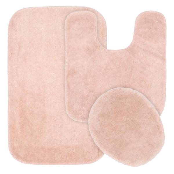 Garland Rug Traditional Blush 21 In X 34 Plush Nylon 3 Piece Bath Mat Set Ba010w3p02dd3 The Home Depot