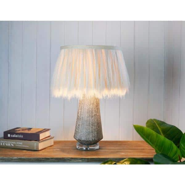 Artiva Hula 22 5 In Antique Brown And White Unique Naturel Abaca Table Lamp Handcrafted In Thailand A830228ab The Home Depot