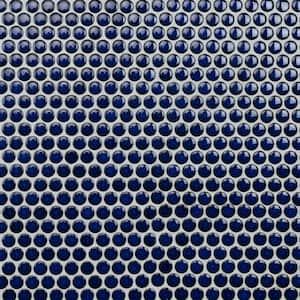 Hudson Penny Round Blue Eye 12 in. x 12-5/8 in. x 5 mm Porcelain Mosaic Tile (10.74 sq. ft. / case)