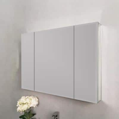 36 in. W x 26 in. H Medium Rectangular Silver Aluminum Wall Mount Medicine Cabinet with Mirror