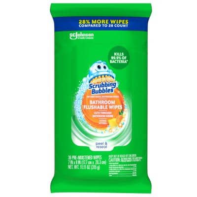 36-Count Antibacterial Bathroom Flushable Disinfecting Wipes
