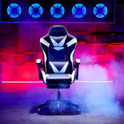 27 in. Width White Lether Ergonomic Gaming Chair with Adjustable Height and USB-Powered Lumbar Massage