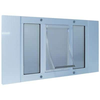 5 in. x 7 in. Small White Original Pet and Dog Door Insert for 27 in. to 32 in. Wide Aluminum Sash Window