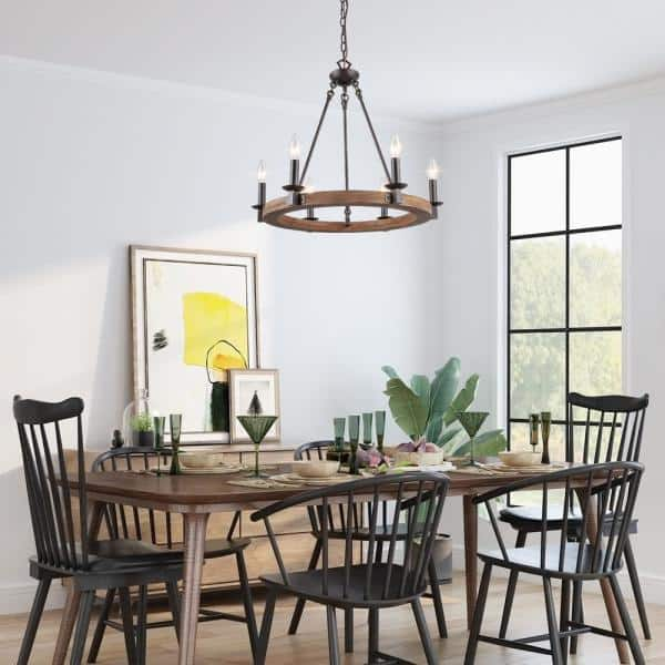 Lnc Rustic Farmhouse Chandelier, Rustic Dining Room Chandeliers