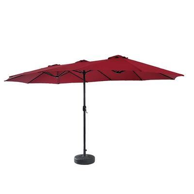 15 ft. Powder-Coated Rust-Free Steel Crank Market Outdoor Patio Umbrella in Red