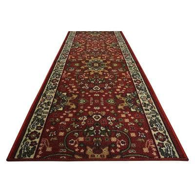 "Isfahan Cut to Size Dark Red Color 36"" Width x Your Choice Length Custom Size Slip Resistant Rubber Runner Rug"