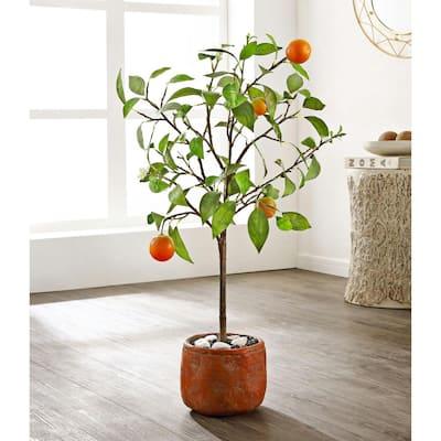 Artificial Orange Tree 33.1 in. Brick-Red Cement Pot