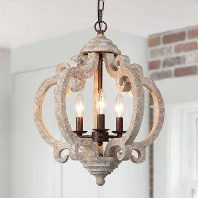 Wood Chandelier, Rustic Chandelier 3-Light Bronze Lantern Farmhouse Island Pendant Hanging Light with Candle Style