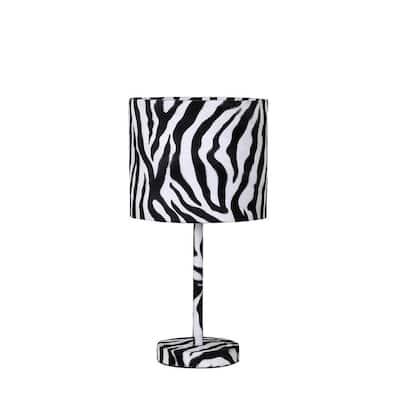 19.25 in. Faux Suede Zebra Metal Table Lamp