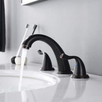 8 in. Widespread 2-Handle Bathroom Faucet with Drain in Oil Rubbed Bronze