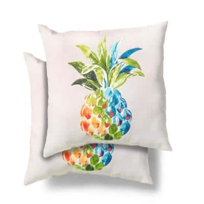 18 in. x 18 in. Mai Tai/Palmetto Square Outdoor Throw Pillow (2 Pack)