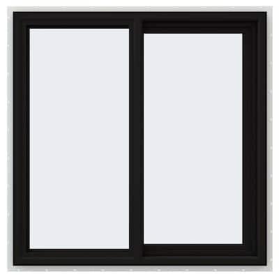 36 in. x 36 in. V-4500 Series Black FiniShield Vinyl Right-Handed Sliding Window with Fiberglass Mesh Screen