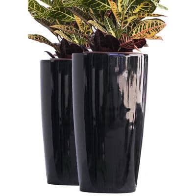 XBrand 17 in. Tall Black Nested Plastic Self Watering Indoor Outdoor Round Tall Planter Pot with Glossy (Set of 2)