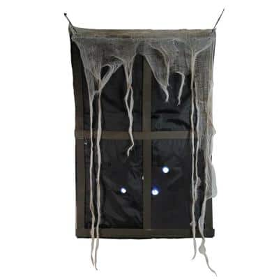 41 in. Lighted Ghostly Faux Window with Sound and Tattered Curtain Halloween Decoration