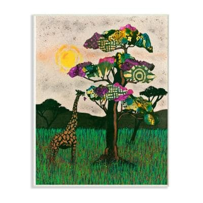 "10 in. x 15 in. ""Giraffe with Bright Green Pink and Purple Mixed Media Collaged Trees "" by Alonzo Saunders Wood Wall Art"