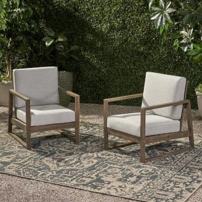Belgian Grey Removable Cushions Wood Outdoor Lounge Chair with Light Grey Cushions (2-Pack)