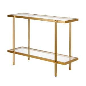 Inez 42 in. Brass/Clear Standard Rectangle Glass Console Table with Storage
